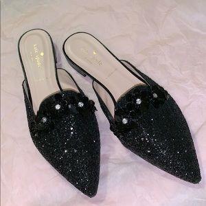 Kate Spade black glitter sequin mules. BNWT